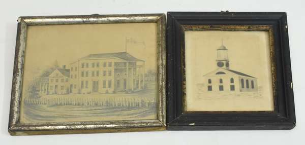 Two small 19th C. pencil drawings, Delaware House, inscribed lower left