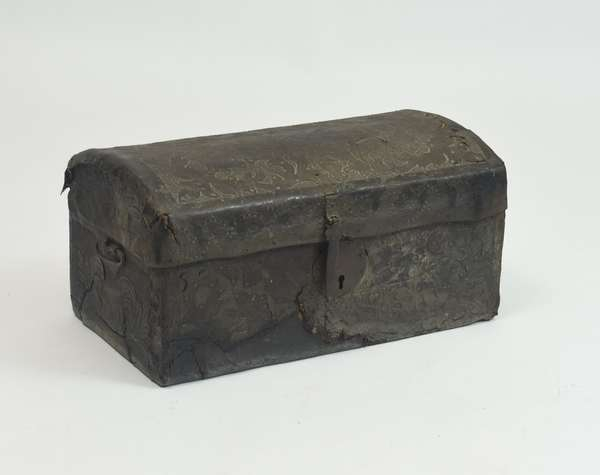 18th C. studded leather trunk stamped 1763, with iron engraved hinge lock, 26