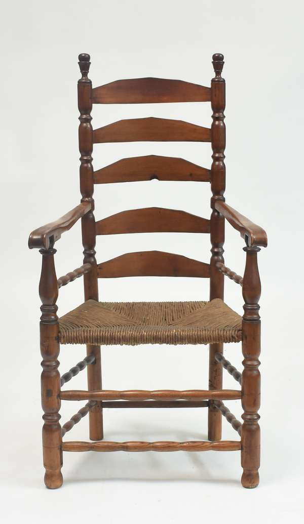 18th C. CT ladder back chair with good sausage turnings, 17