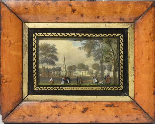 Hand colored etching of The Green in New Haven, Connecticut, with added figures reverse painted on glass, signed and dated J.M. 1831, 5