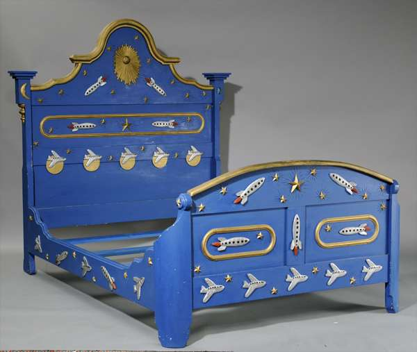 Folk art bed by Stephen Huneck, planes and rocket ships, full/double