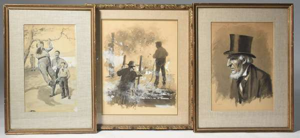 Three A.B. Frost gouache and ink wash drawings: illustration for