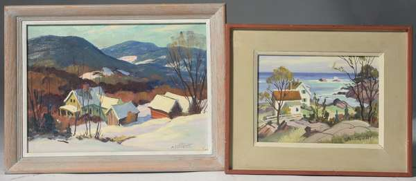 Two oils on paper board signed A. Lindquist; Wells, VT winter scene, 9