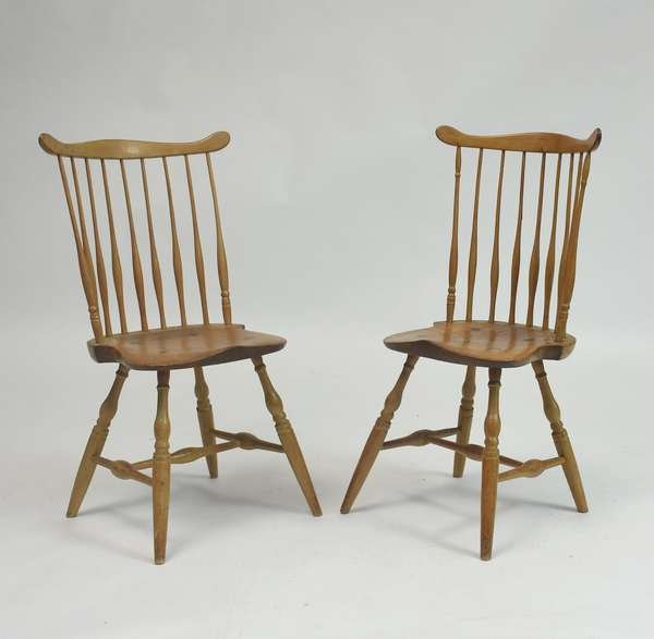 Pair of late 18th C. fan back Windsor chairs, 19