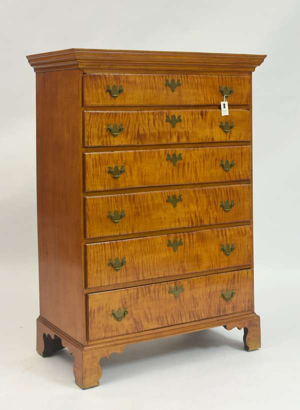 Good Chippendale tiger maple six drawer tall chest on original bracket base ca.1780-1800, 36