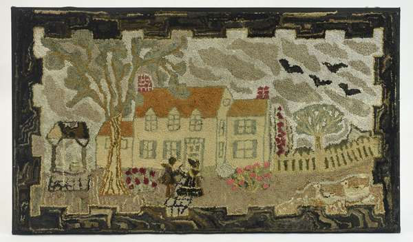 """19th C. pictorial hooked rug, house with figures, 28"""" X 50"""""""