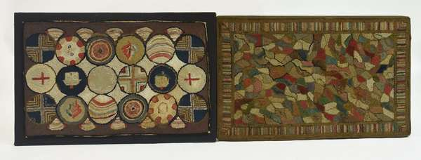 Two 19th C. abstract design hooked rugs, 38.5