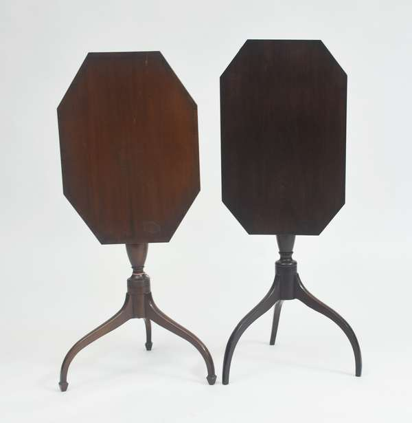 Two Hepplewhite mahogany tilt top candlestands on tapered legs, octagonal tops, one with inlay (3,9)