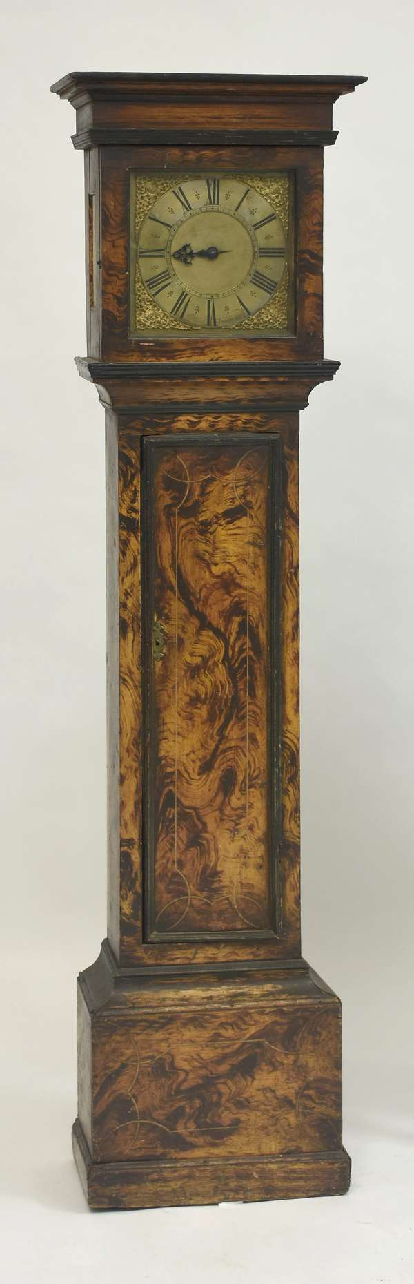 Grain painted tall clock, works signed Nat. Hedge, Colchester, 75.5