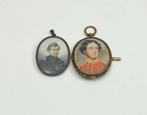 Two early 19th C. miniature portraits, military gentlemen in uniform, 1.75