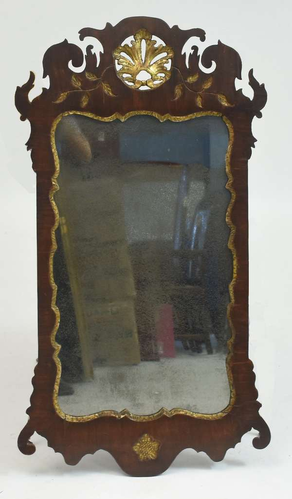 18th C. Queen Anne mirror with parcel gilt shell carving and old glass, 35