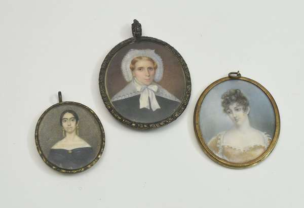 Three early 19th C. miniature portraits of noble women, woman in yellow dress signed and titled on reverse,