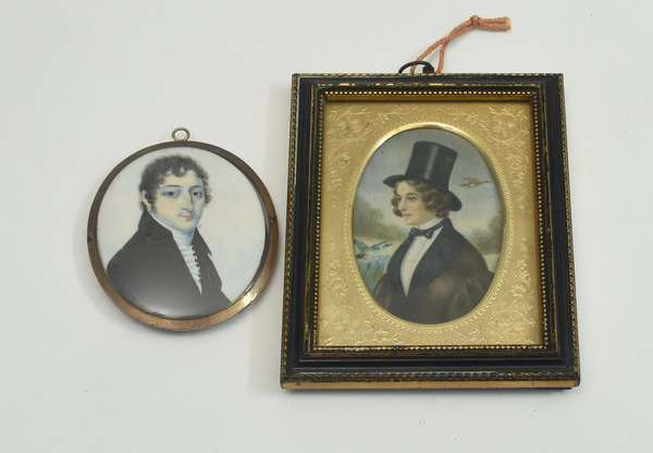 Two early 19th C. miniature portraits, gentleman, inscribed on reverse Henry Watkins b.1777, d. 1844, by Solomon Polack 1757-1839 and a noble woman in hunting costume, 2.75
