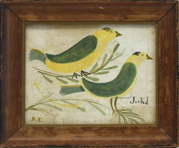 Early folk art watercolor on paper, two birds, initialed A.E., 7