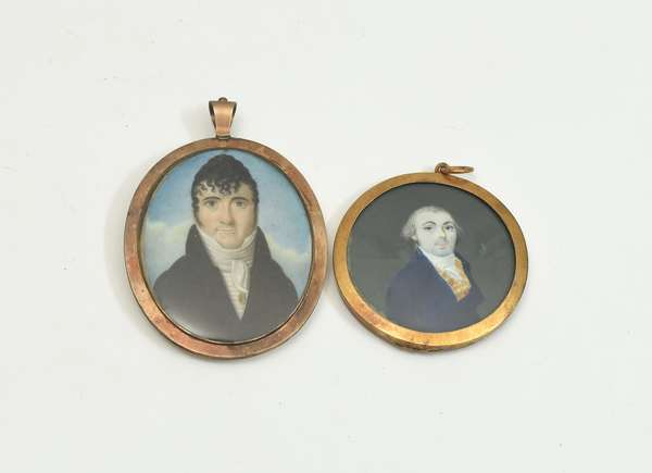 Two early 19th C. miniature portraits, two noble gentlemen, in gold frames, 2.25