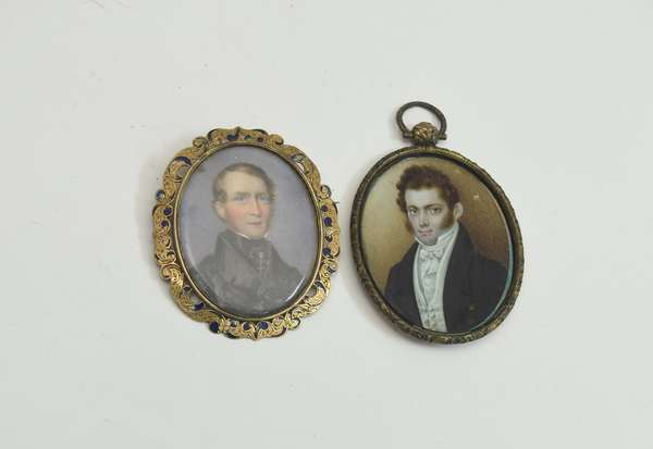 Two early 19th C. miniature portraits, two gentlemen, 2