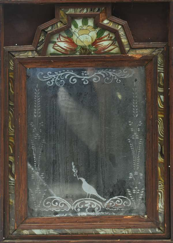 Unique 18th C. Queen Anne courting mirror with etched glass and reverse painted decoration, 16.75