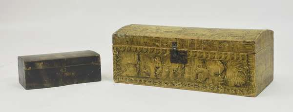 Two sponge decorated trunks, dovetail construction, green and yellow paint, 27