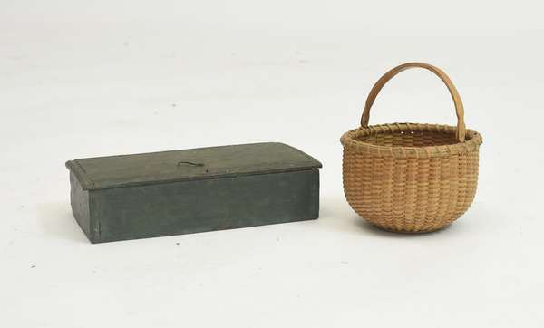 Good early pen box in green paint with a sweet small size Nantucket basket with swing handle, box 7.5
