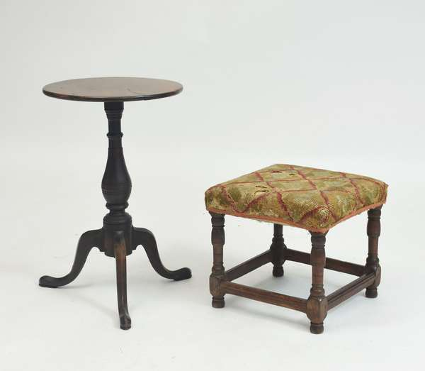 18th C. William and Mary stretcher base stool with upholstered seat with a Queen Anne candlestand, old finish, stool 15
