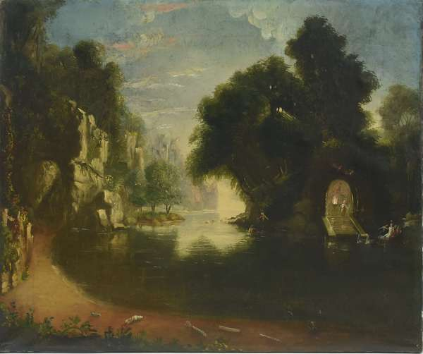 19th C. American school allegorical oil on canvas, The Grotto, 25