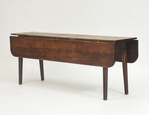 Federal country harvest table scrub pine top with maple base and tapered legs, old surface c. 1800-1820, 78
