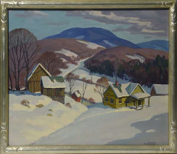 Oil on canvas, signed A. Lingquist, Winter Landscape with House and Barn, 25