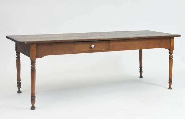 Good 19th C. country one drawer farm table, maple base with turned legs and a two board pine top, 82.5