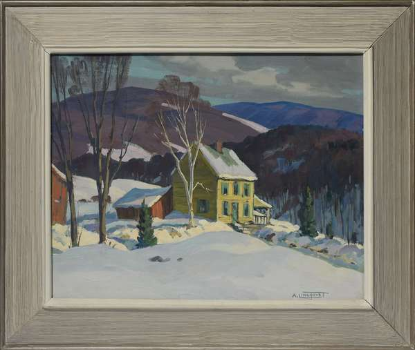 Oil on canvas board signed A. Lingquist, Winter Landscape with Yellow House, 16