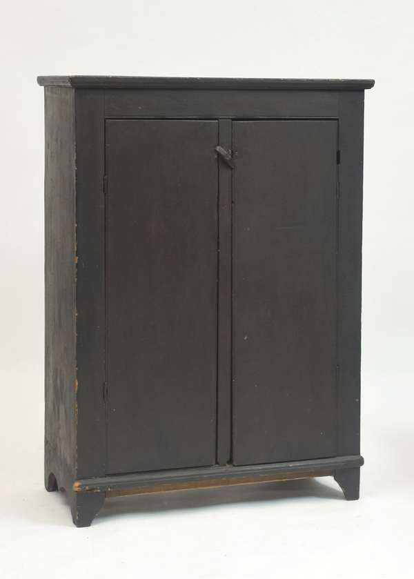 18th C. two-door jelly cupboard in old brown paint, 54.75