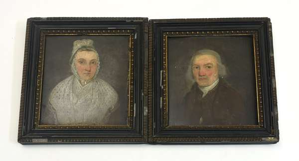 Pair of late 18th C. small portraits of husband and wife, oil on board, 6.5