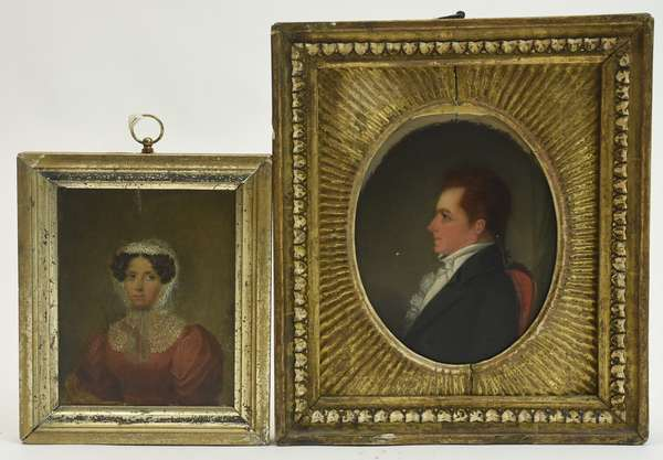 Two small 19th C. oil on board portraits, young man in profile, 10