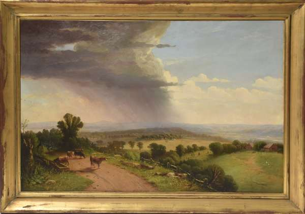 Oil on canvas, signed lower left J. Williamson 1871 N.Y., The Approaching Storm, Hudson River Valley landscape, 27