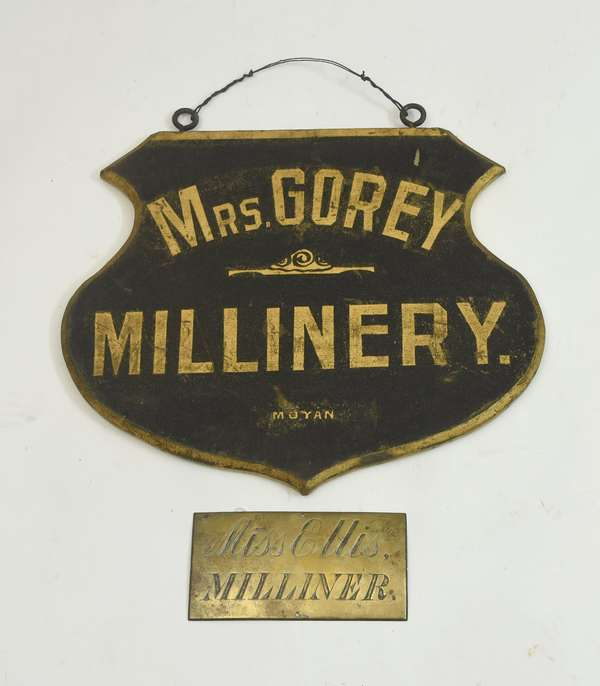 Two antique Milliners signs,