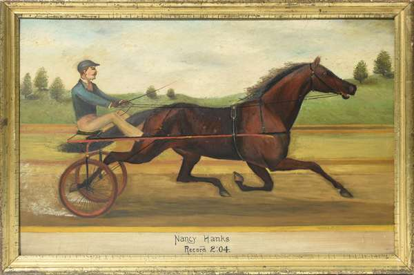 19th C. oil on board, the trotting mare Nancy Hanks pulling a sulky, 21.5