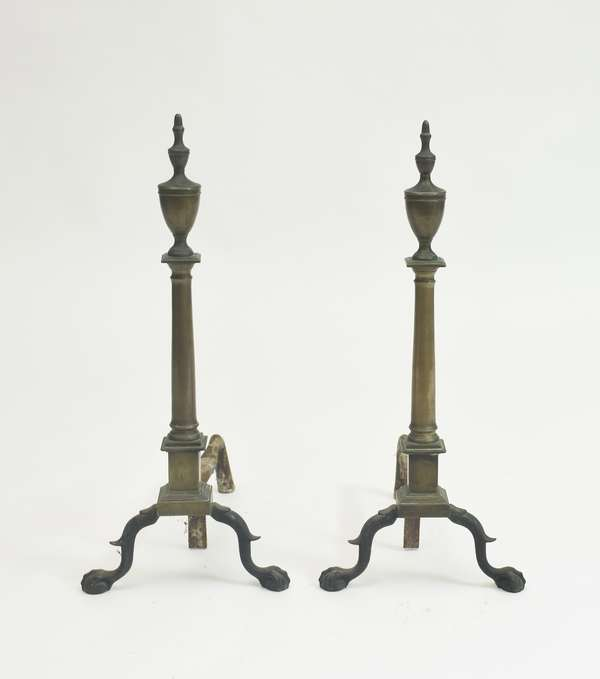 Pair of period brass steeple top andirons with claw and ball feet, c. 1780-1800, 27