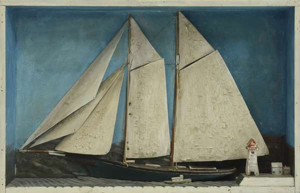 Folk Art nautical diorama with two masted sailboat and lighthouse, painted wooden sails, 27