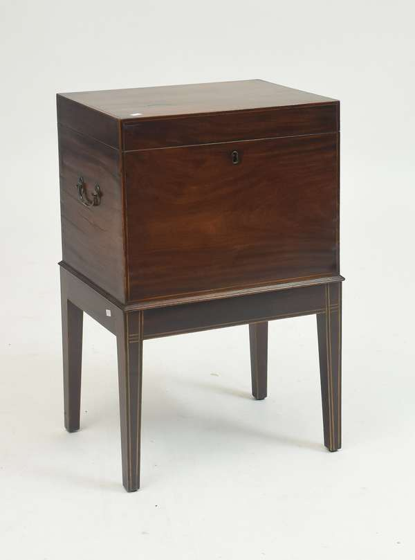 Federal inlaid figured mahogany cellarette on tapered legs with line inlay and side handles, 27.5