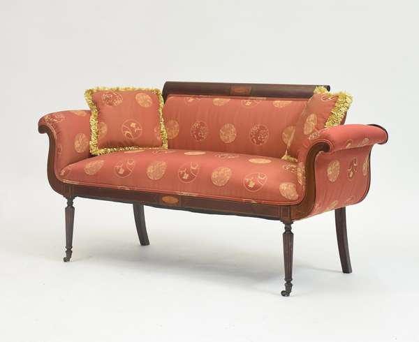Federal inlaid sofa with reeded legs, scrolled arms, shell inlay on crest rail and other line inlay, 57