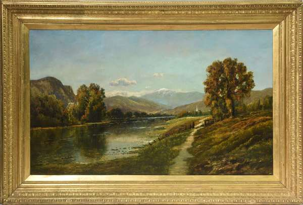 Exceptional 19th C. White Mountain school oil on canvas signed Edmund D. Lewis, View of MT. Washington from the Saco River Valley, 29.5