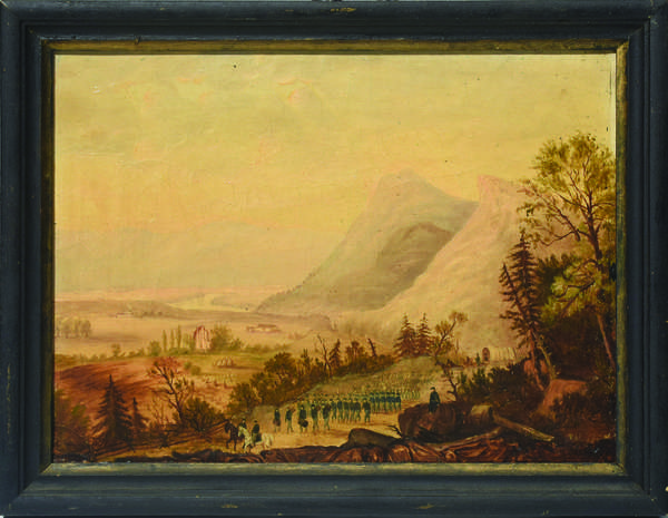 19th C. folk oil on canvas, Marching Civil War Soldiers in Valley Landscape, 8.5