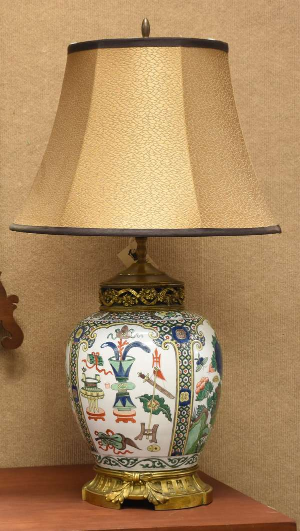 Fine Chinese porcelain jar converted to a lamp with ormolu mounts, 14