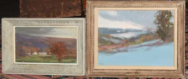 Two Virginia Webb landscape paintings, Winter Landscape, oil on canvas, 14