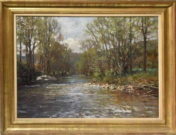 Oil on canvas signed Clark (H. Thomas Clark), Woodland Stream, 22