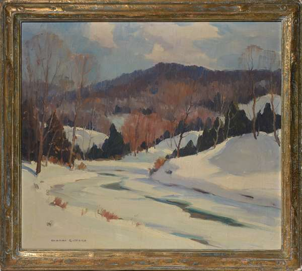 Oil on canvas of winter landscape signed Gianni Cilfone,