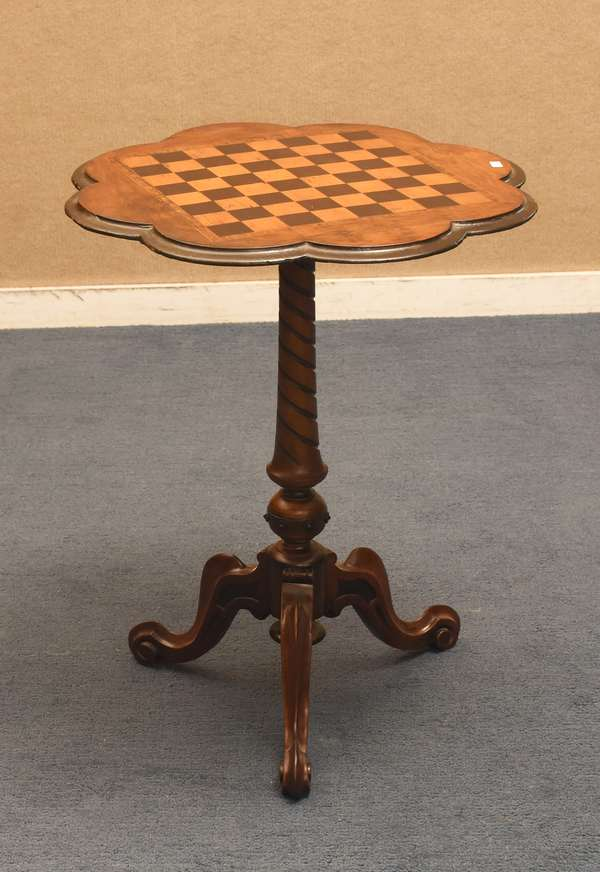 19th C. walnut scalloped top and inlaid checkerboard top stand, 24
