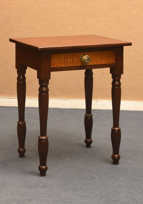 Sheraton walnut one drawer stand with tiger maple drawer front, c. 1820-1830, 29