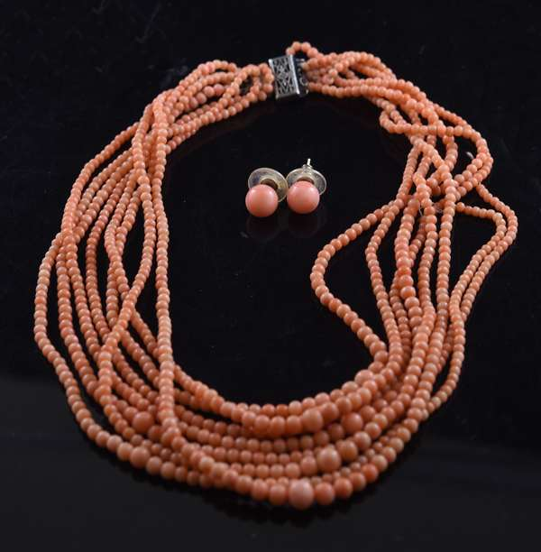 Ref 4 - Eight strand coral beaded necklace with coral stud earrings (96-4)