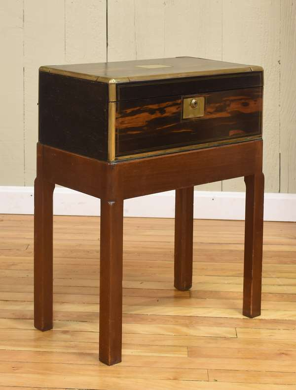 Fine 19th C. ship captain's brass-bound lap desk (exotic wood) with drawer on a custom made stand, with key, 24