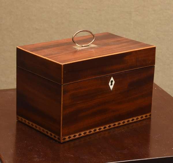 19th C. inlaid mahogany tea caddy with key, 9